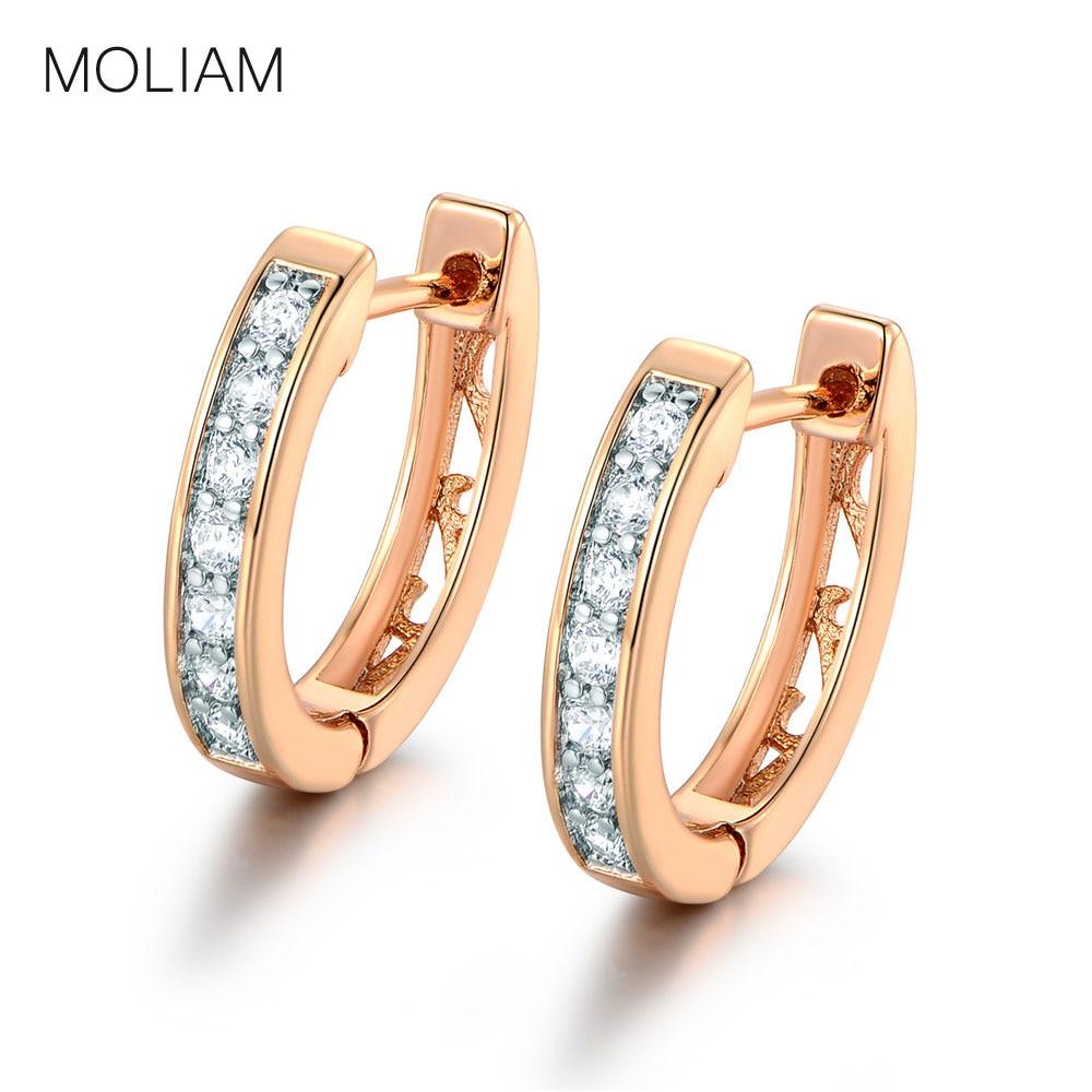 MOLIAM Csodálatos fülbevaló nőknek Fehér kristályok AAA köbös cirkónium Hoop fülbevaló Női divat ékszer MLE110