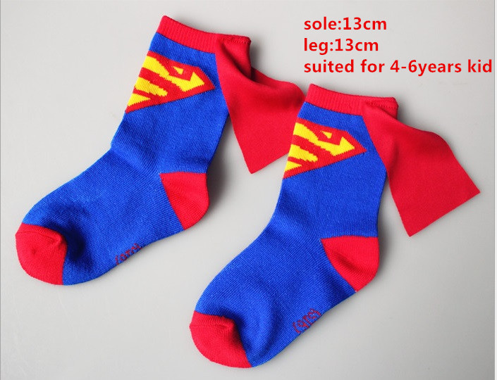 Kids Superman Cosplay Costume Socks Boys Girls Cosplay Cotton Socks Football Basketball Sports Socks 4-6Years Blue
