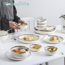 22Pcs Creative Bone China Cutlery Set Dish Sets Dinnerware Home Dishes And Plates Multi-person Ceramic Plate For Tableware
