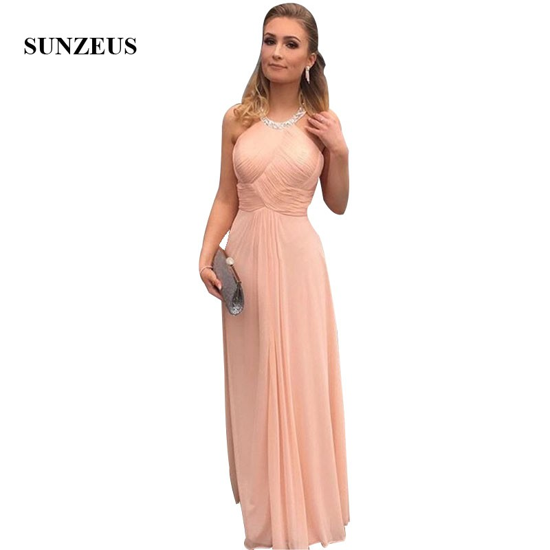 Pleated Chiffon   Prom     Dresses   Beaded Neckline Long Party Gowns Summer 2019