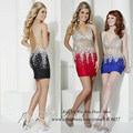 Sexy Women Summer Crystals Cocktail Dresses 2015 Black Red Royal Blue Short Party Dress Backless V Neck Vestidos de Coctel