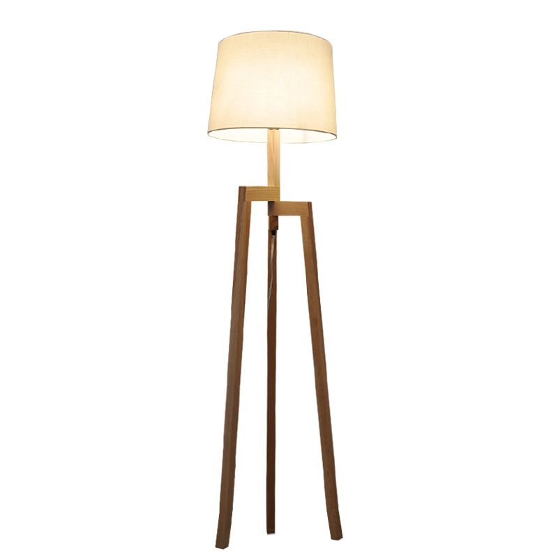 modern minimalist 3 leg wood tripod floor lamp with fabric shade creative floor light for living. Black Bedroom Furniture Sets. Home Design Ideas