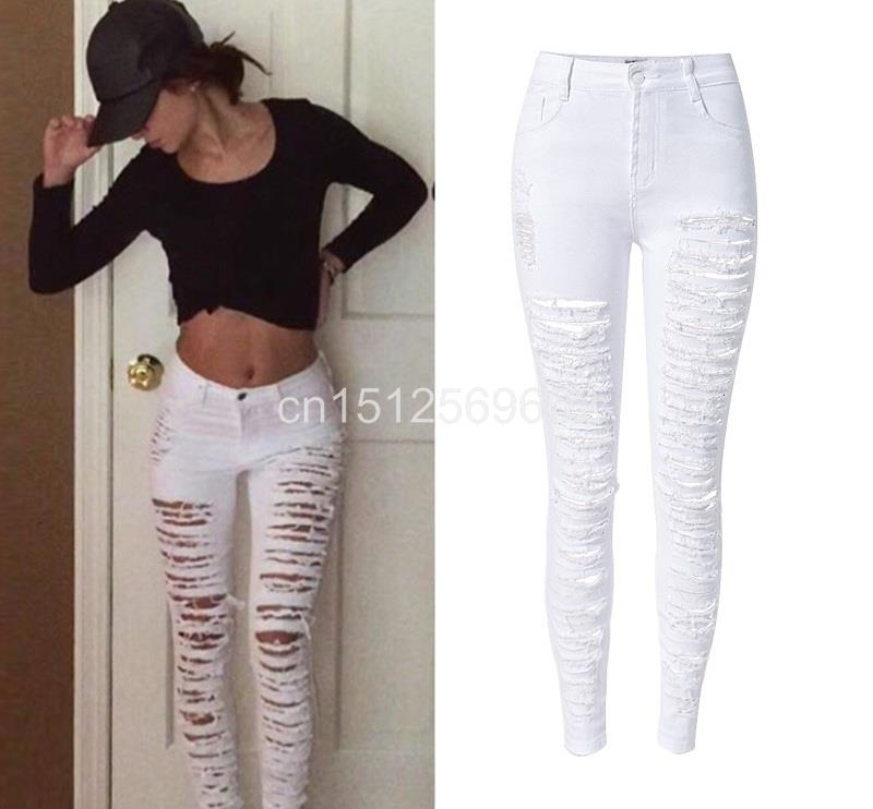 d486a203ec5 Fashion Army Green Black White Sexy Ripped Jeans Women Plus Size Distressed  High Waist Jeans Ladies Skinny Jean Taille Haute-in Jeans from Women s  Clothing ...