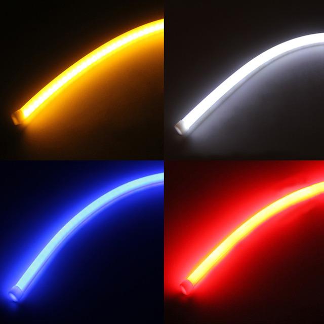 2 PCS 60 CM Silicone Gel Pure White Flexível Macio Guia Tubo IP65 3020 SMD 57 LED Strip Lâmpada Do Carro DRL Luz de Circulação Diurna DC12V
