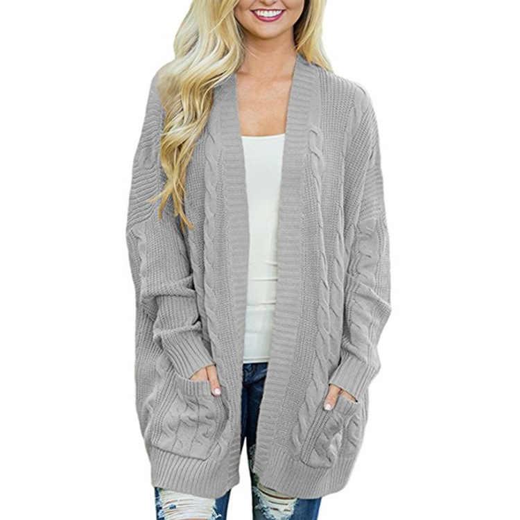 Зимний рукав «летучая мышь» большого размера длинный трикотажный свитер Женское пальто кардиган женский твист свободный свитер толстый длинный рукав карман
