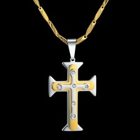 Crosses Jewelry For Men Stainless Steel Gold Color Catholic Crucifix Jesus Cross Pendant Necklaces Male Christian