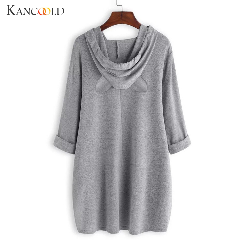 Women Casual Printed Cat Ear Hooded T-Shirt Long Sleeves Pocket Irregular fashion 5