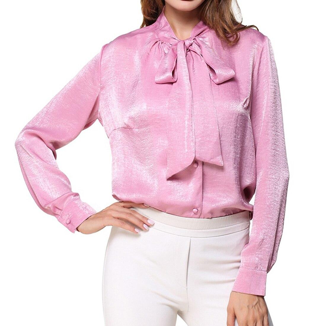 2018 new Satin Shirt Women Long sleeve peter pan collar silk Blouses women work wear uniform office OL shirt simple body tops