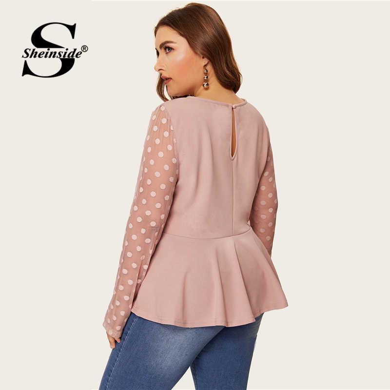 Sheinside Plus Size Elegant Polka Dot Mesh Sleeve Blouse Women 2019 Spring Ruffle Hem Blouses Ladies Solid Keyhole Back Top
