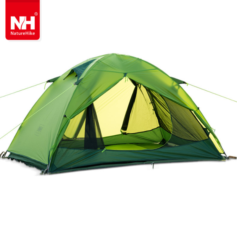 Naturehike NH15Z006-P 2 Person 20D Silicone Double-layer Tents Ultra-light Aluminum Pole Tent windproof, anti rainstorm tent nh naturehike high quality 2persons classical professional ultra light aluminum pole camping tent with the bottom mat