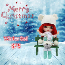 free shipping factory blyth doll short red hair shing face joint body Christmas Set including dress shoes winter dress BL1248