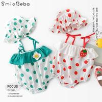 e8c97fbf99ca0f Bottom Free Hats Rompers Girls Children Two Pieces Sets Full Printed Point  Eggs Strawberry Suspender Jumpsuit
