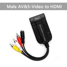 Wiistar conversor de vídeo e áudio, conversor de vídeo e áudio para fêmea hdmi, adaptador composto de 1080p para blu ray dvd hdtv