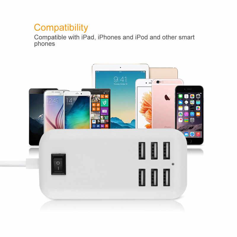 XEDAIN 6 Ports Phone USB Charger 5V/3A EU/US Plug Adapter Mobile Phone Universal For iPhone iPad Samsung Multiple Wall Charging