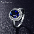 2016 ANFASNI Latest Style Trendy Ring Silver Color Micro Pave Clear AAA Cubic Zirconia Round Blue Ring CRI0126-B