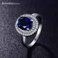 2016 anel de prata cor da moda mais recente estilo anfasni micro pave limpar aaa cubic zirconia redonda anel azul cri0126-b