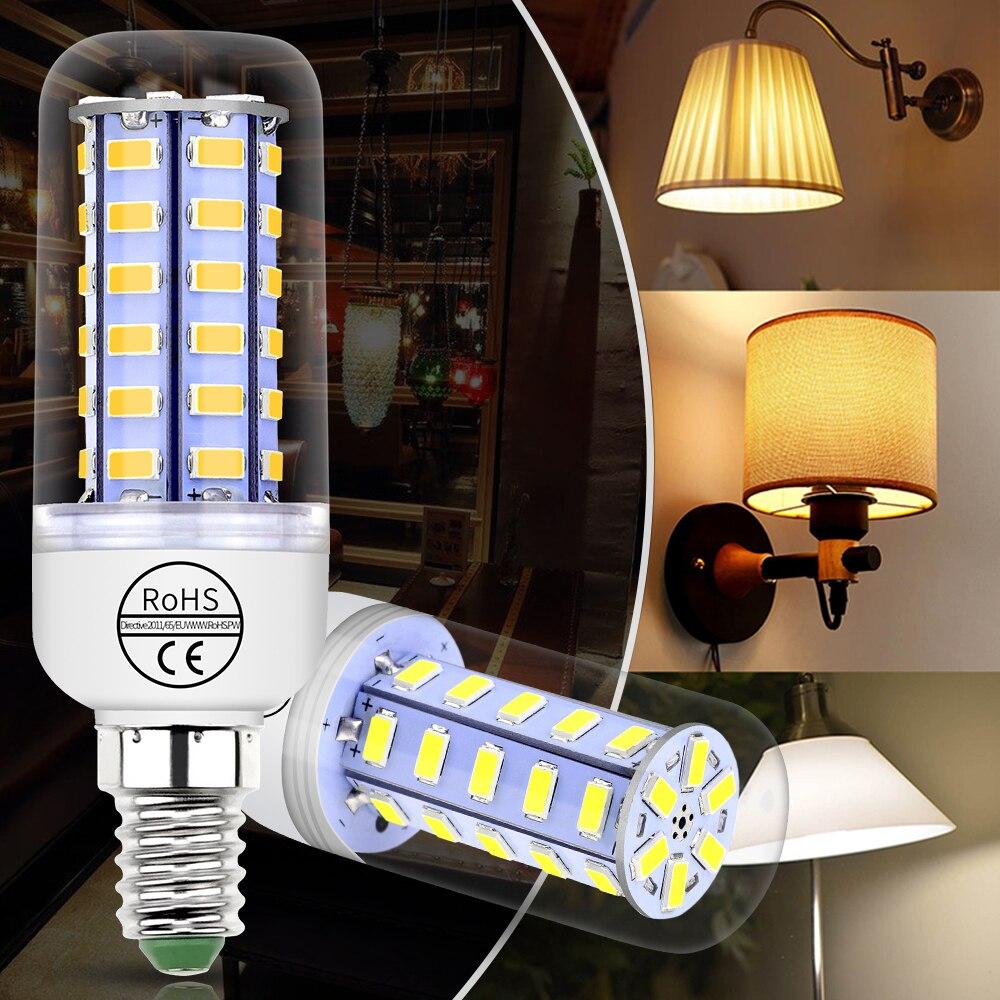Купить с кэшбэком GU10 LED Corn Lamp E14 220V Bombilla Led E27 Corn Bulb 5730 SMD Led Candle Light Bulb For Home 24 36 48 56 69 72leds 3W Ampul 5W