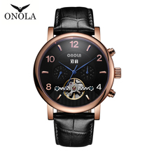 Get more info on the ONOLA Moon phase top brand automatic mechanical watch the tourbillon hollow out watches the man calendar Relogio Masculino drops
