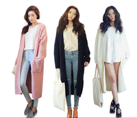 BomHCS Women Boho Long Sleeve Knit Outerwear Cardigan Knitted Outwear with Pockets