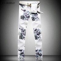 Mężczyzna 3D Drukowane Bawełniane Proste Dżinsy W Stylu Punk Gothic Malowane nogi Fajne Elastyczne Skinny Jeans Dla Młodych Mężczyzn Znanych Marek Jeans