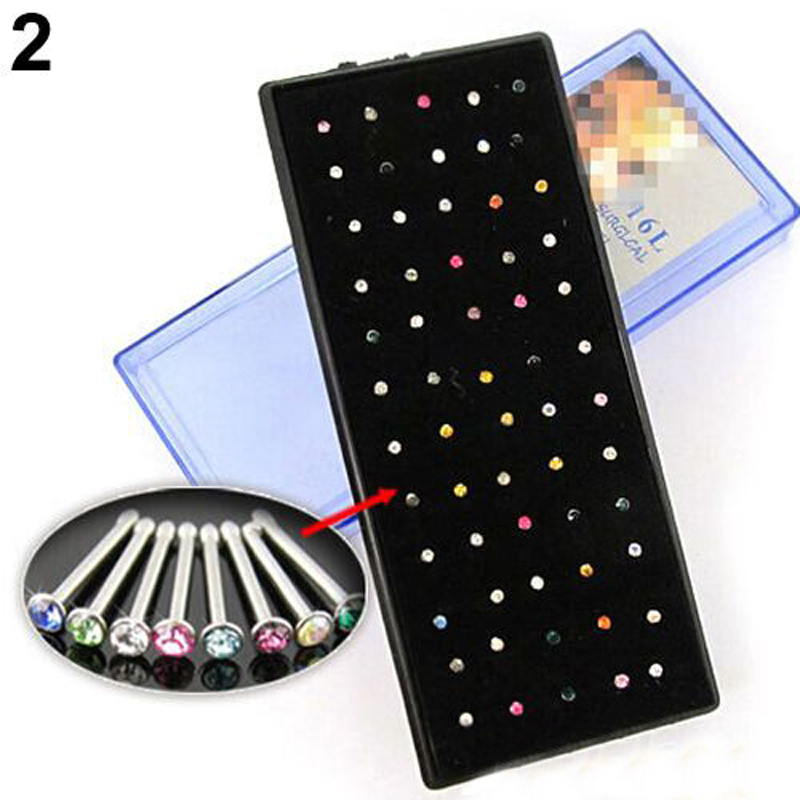 1 X COLOURED 316L SURGICAL STEEL NOSE STUD NOSE BONE BODY JEWELLERY NEW.