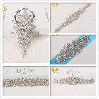 (5pieces)Wholesale Handmade Sew on Hotfix Sliver Crystal Stones Rhinestone Applique for Garment Dresses Headband Bridal Garter