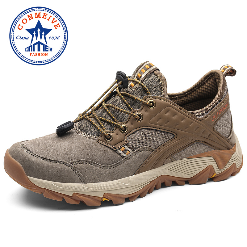 Genuine Leather Hiking Shoes Men 2018 New Spring and Autumn Breathable Man Sneakers Light Mens Outdoor