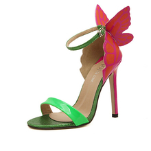 2016 star with super beautiful butterfly wings fantasy nightclub shoes mixed colors fine with high heels sandals w795