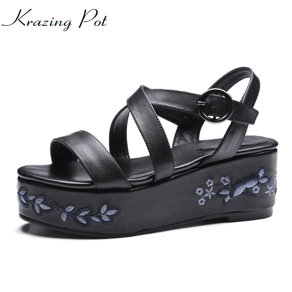 Krazing Pot platform brand summer shoes genuine leather gladiator ankle strap women sandals high heel embroidery wedges shoe L25 phyanic 2017 gladiator sandals gold silver shoes woman summer platform wedges glitters creepers casual women shoes phy3323