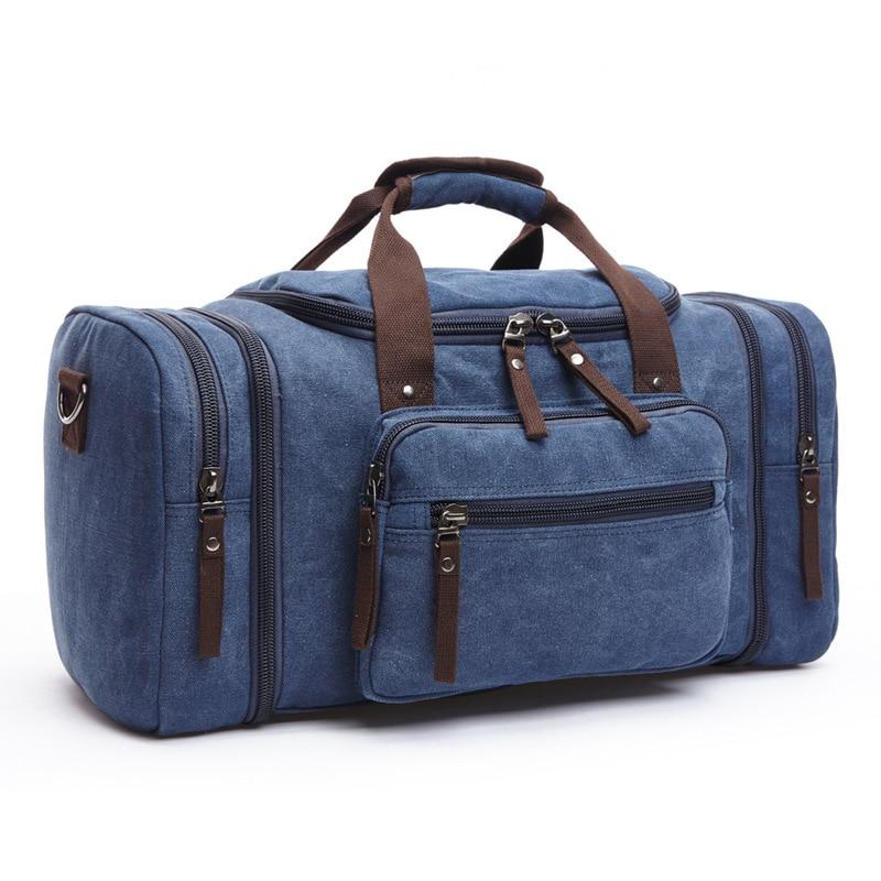 Grande capacité hommes sac de voyage designer duffle bagages haute qualité sacs en toile grand sac portable avec poche sacs de voyage marron-in Voyage Sacs from Baggages et sacs    3