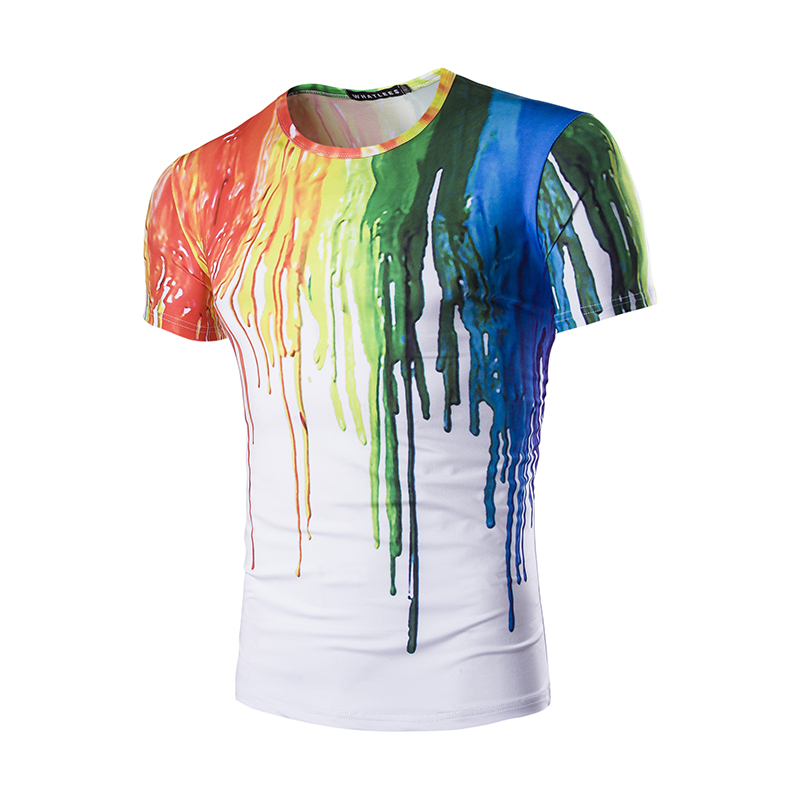 New 2017 summer men t shirt personality stereoscopic for How to paint on t shirt