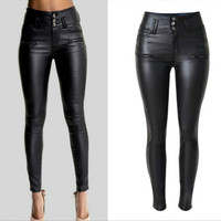 2019 High Waist Skinny Jeans Femme Imitation Leather Slim Black Jeans Women PU Lederhosen Joker Fashion Sexy Fake Zippers Pants
