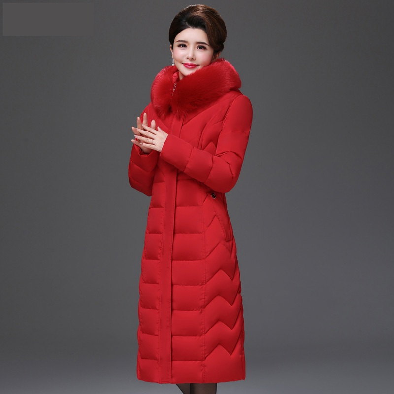 Capuchon Red Femmes D'hiver De Fourrure Vêtements brown armygreen 5xl Taille Qualité brick Wine Grande Long Marque Veste Chaud Femme red Mince Parkas Black Mère À gray Manteau Col red Haute Opdpq