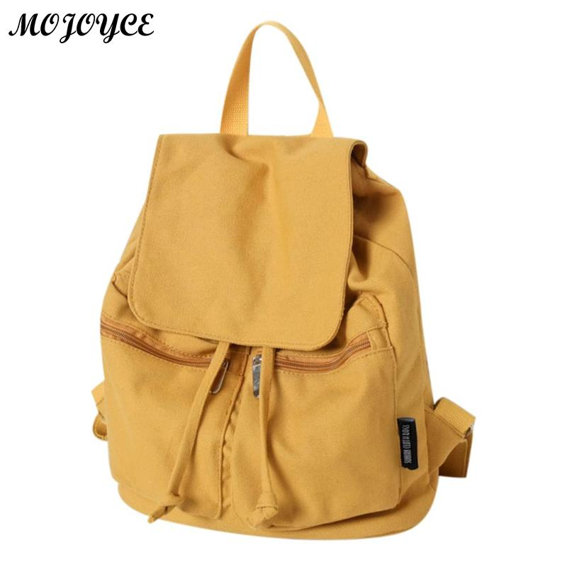 Canvas Backpack Simple Style Backpacks Shoulder School Teenage Girl Pure Color Drawstring Rucksack 4 Colors
