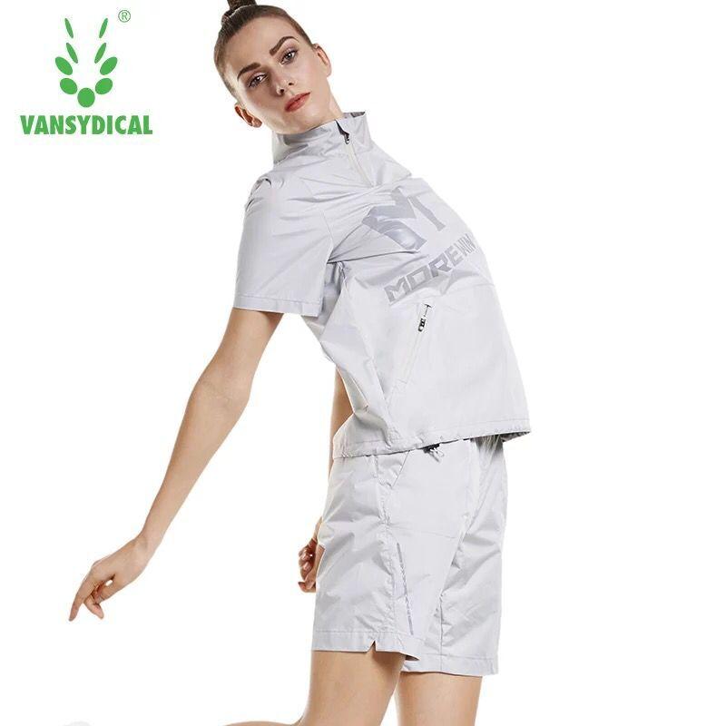 Sweat chaud ensemble de course femmes survêtement à manches courtes Gym Fitness entraînement Jogging costumes réfléchissants Sport costumes Sportswear 2 pièces