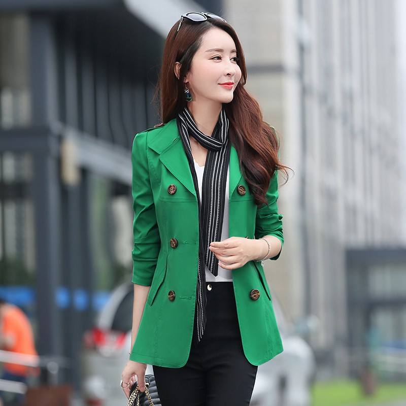 Green Women   Trench   Coat Spring Autumn Clothes Long Sleeve Women Coats Plus Size Outwears Double-breasted Female Windbreaker