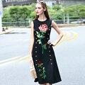 Europa 2016 novas mulheres de verão sem mangas cotton blended dress lantejoulas bordadas preto mid-calf dress