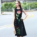 Europe 2016 New Summer Women Sleeveless Cotton Blended Dress Sequins Embroidered Black Mid-calf Dress