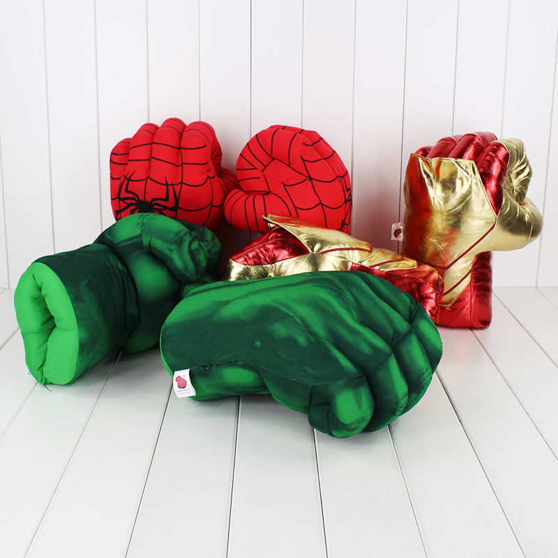 30cm New Iron Man 3 Ironman Incredible Hulk Smash Hands Spider Man Plush Gloves Performing Props Toys 3 styles 13 incredible hulk smash hands spider man plush gloves spiderman performing props toys free shipping