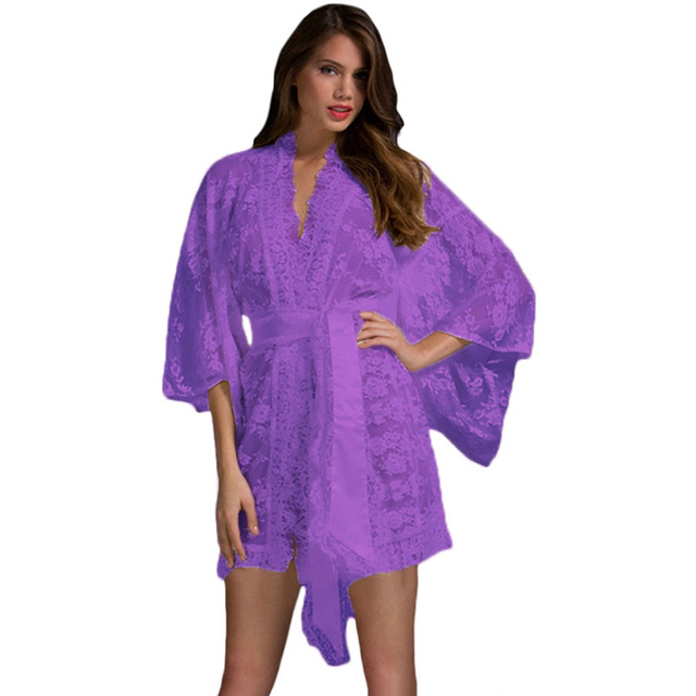 8bf64a21d42 Sexy Sheer Lace Kimono Robe+Panties Lingerie Women Nightgown Pajamas Gown  Robe Underwear Femme Chemises