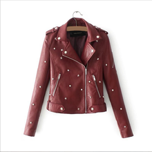2017 Lika S-XL New Spring Fashion Bright Colors Good Quality Ladies Basic Rivet Street Women Short PU Leather Jacket