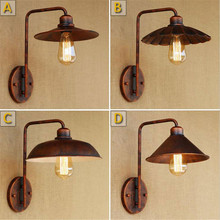 Retro Rustic lampshade Wall Lamps E27 Base Vintage Industrial Wall Lamp Decoration Iron lampara pared Wall Light Fixture style classical vintage industrial wall light lampshade restaurant office nostalgic umbrella bronze wall light home decoration