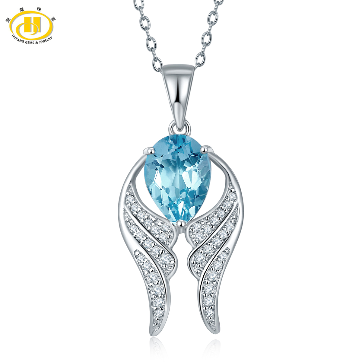 Hutang Stylish Gemstone Wing Pendant Natural Blue Topaz Solid 925 Sterling Silver Necklace for Women's Wife Girlfriend Gift 2017