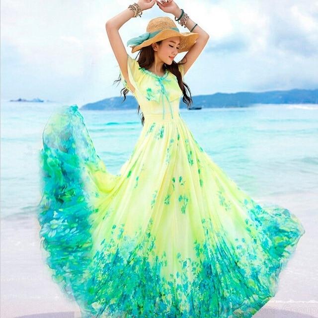 adf6c87cb14 Fashion Woman Boho Dress Casual Chiffon Long Beach Dress Maxi Evening Party  Dresses Floral Print Dresses Vestido De Festa SJM
