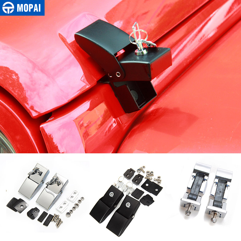 MOPAI Metal Car Exterior Lock Hood Latch Catch Set With Lock Decoration For Jeep Wrangler JK JL Engine Cover Car Styling bbq fuka hood latch catch lock bracket latches buckle fit for jeep wrangler jk unlimited 2007 2016 car accessory