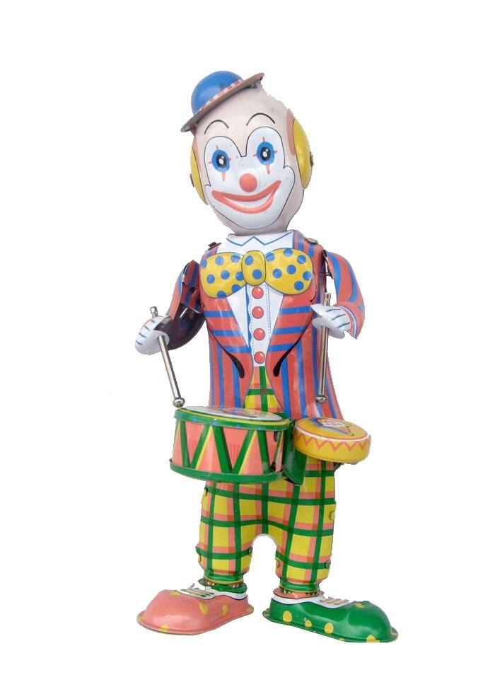 Rare collection Nostalgia Tin Wind up toys Drum clown Toys