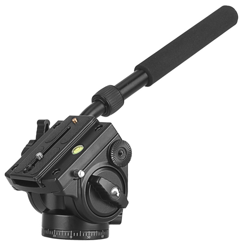 Q90 Handgrip Video Photography Fluid Drag Hydraulic Tripod Head and Quick Release Plate xiletu ls 4 handgrip video photography video camera fluid drag tripod head with quick release for dslr camera camcorder shooting