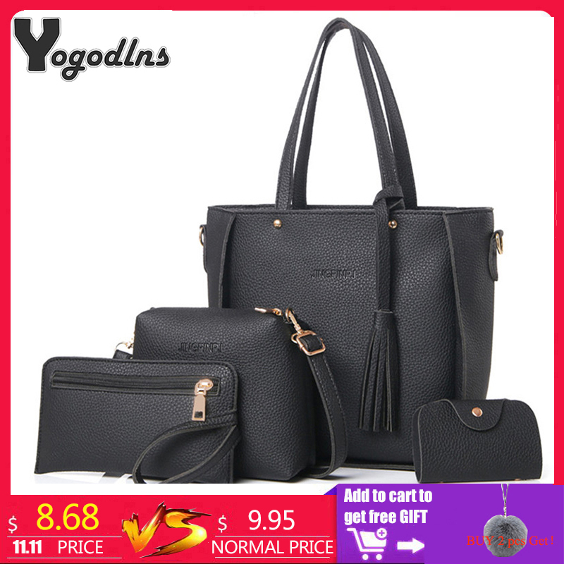 Women Bag Set Top Handle Big Capacity Female Tassel Handbag Fashion Shoulder Bag Purse Ladies PU Leather Crossbody Bag-in Shoulder Bags from Luggage & Bags on Aliexpress.com | Alibaba Group
