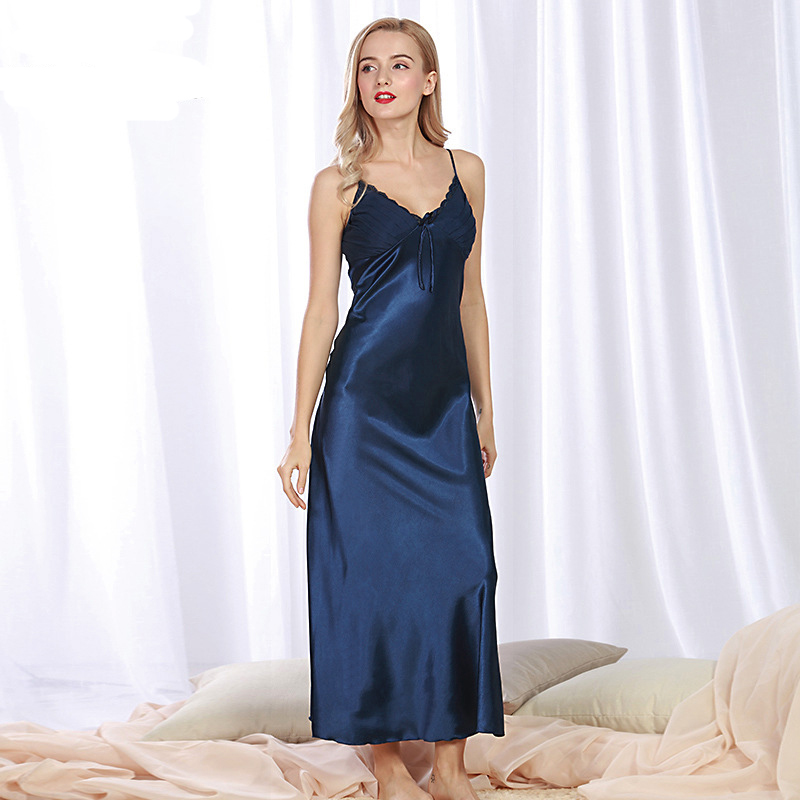 SSH081 Lady Sexy Seidensatin Nachtkleid Ärmellose Nachthemden V-Ausschnitt Nachthemd Frauen Feste Nachtwäsche Nachtwäsche Sommer Nachthemd