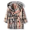 Envío gratis primavera/otoño niños ropa doble de pecho de la tela escocesa niña zanja niña prendas de vestir exteriores